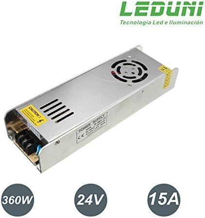 LEDUNI ® Fuente de Alimentación 24V DC LED Alimentador Transformador Iluminación y Informatica (360W 15A)