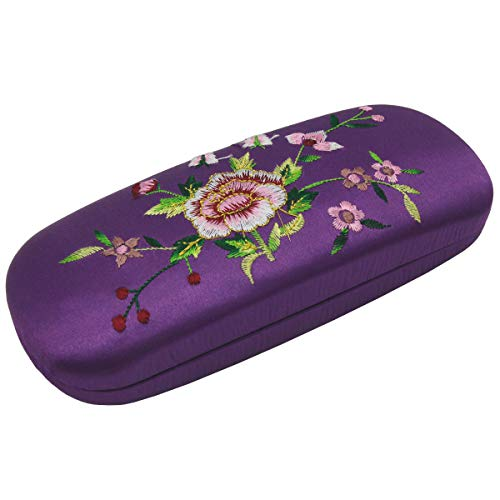 ZZ Sanity Embroidery Flower Fabric Covered Clam Shell Style Eyeglass Case Spectacles ()