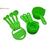 DarkPyro's 8 Pcs Measuring Cups And Spoon Set With Hanger Green
