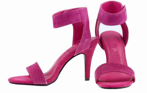 Sandals Open Cow Frosted 5 Leather 4 Womens Heel WeenFashion Solid Rosered High US B Stiletto Toe M vYwC5xqS