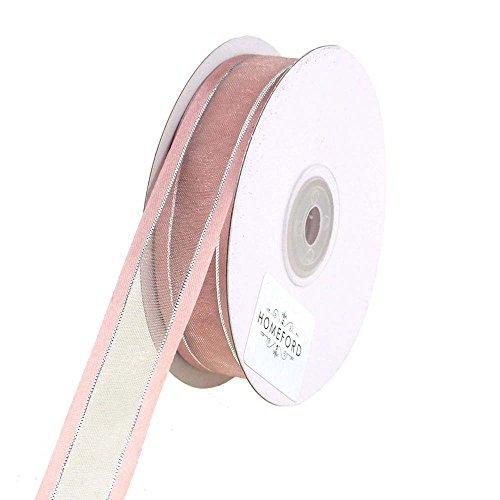 Homeford 4352 Silver-Lined Satin Edge Organza Ribbon, 25 yd, Blush, 5/8