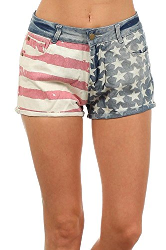 American Flag Printed Distressed Design Denim Jean Fashion Shorts - S