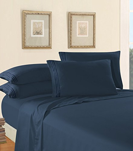 Luxury Bed Sheet Set on Amazon! Elegant Comfort Three-Line Design 1500 Thread Count Egyptian Quality Wrinkle and Fade Resistant 4-Piece Bed Sheet set, Deep Pocket, Full, Navy Blue