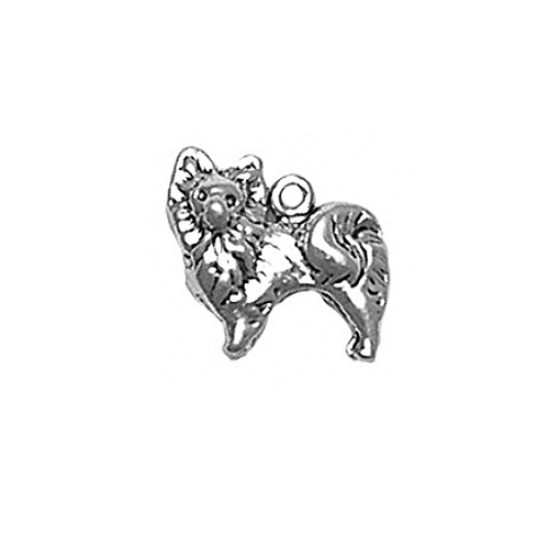 (Sterling Silver 3D Small Pomeranian Dog Charm Item)