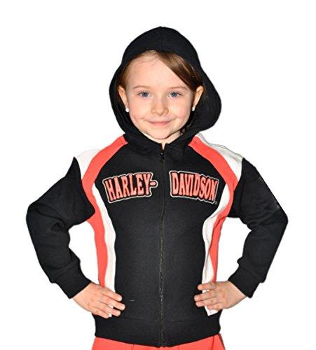(Harley-Davidson Toddler Girls Youth Zip Hoodie Black/Coral (2T))