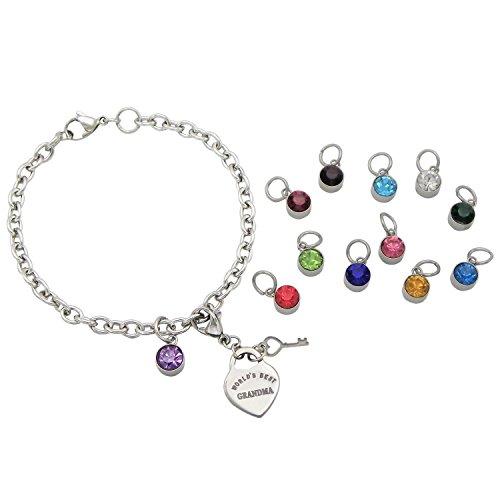 Rosemarie Collections Women's Birthstone Heart Charm Bracelet from Your Children (World's Best Grandma)