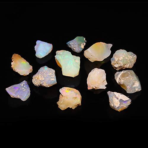 (Jaguar Gems 50 cts Ethiopian Welo Opal Stone Raw Crystal October Birthstone Jewellery Making-DIY Crystal Supply Natural Loose Gemstone Chakra Healing Multi Color Gems Handpicked Assortment)