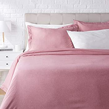 AmazonBasics Chambray Duvet Cover Bed Set - Full or Queen, Sandy Red