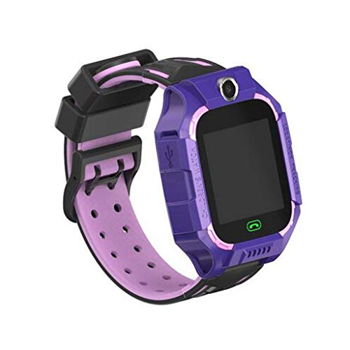 "AGUIguo Kids Smart Watch Phone for Boys Girls Children GPS Wrist Watch with 1.44"" Touch Screen & Anti-Lost SOS Call Smartwatches for Kids Gift, Compatible with iOS & Android (Purple)"