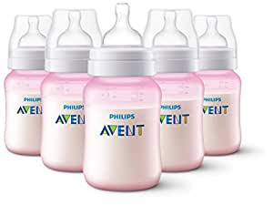 Philips Avent Anti-Colic Baby Bottles, Pink, 9 Ounce (Pack of 5)