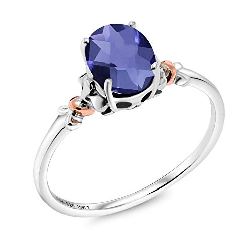 - Gem Stone King 925 Sterling Silver and 10K Rose Gold Ring Oval Checkerboard Blue Iolite 0.65 cttw (Size 6)