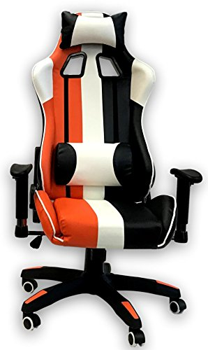 41Zt8TO dwL - ViscoLogic-Series-Sprint-Gaming-Racing-Swivel-Office-Chair-Black-Orange-White