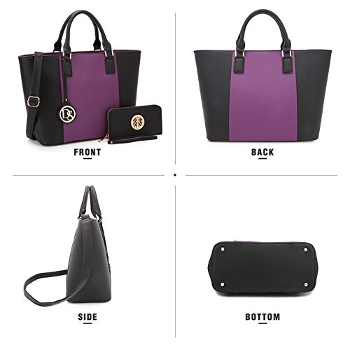 Lady Gift Summer Pockets Multi 6417 Purple Medium Lightweight Handbag Girls Mom for Satchel Teen Tote Designer Purse Women Black Z6qYwqt