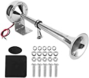 Marine Compact Single Trumpet Deck Electric Horn 304 Stainless Steel 12V Boat Ship Trumpet, Low and High Tone,