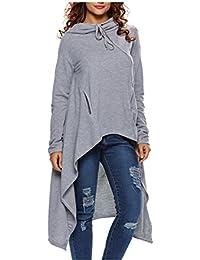 Eloise Isabel Fashion dress manga comprida solta estilo college mulheres hoody com capuz bolso vestidos casuais com cordão cinza lc25933