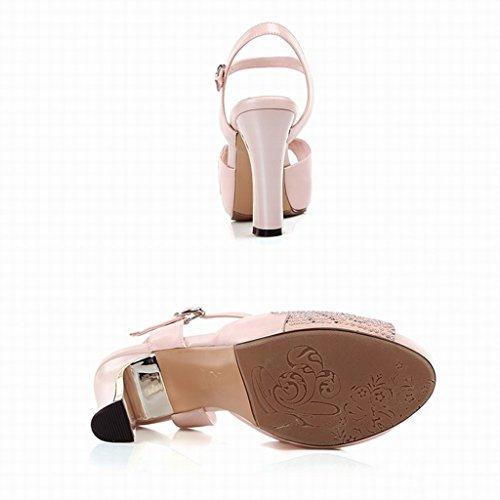 37 hauts shoes féminines female les Single talons à bouche Shoes poisson Unis et Couleur taille de des Rose avec chaussures L'Europe Etats Rose long235mm sexy sandales BFdqPwq
