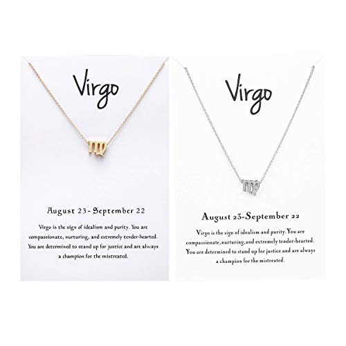 JONERISE 2 Pack 12 Constellation Pendant Necklace Zodiac Sign Necklace with Birthday Gifts Message Card,Gold and Silver -