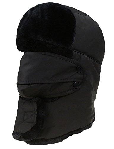 E.J.Y Men Faux Fur Trapper Hat Waterproof Russian Unisex Hunting Hat, Black, Large (Faux Fur Trapper)
