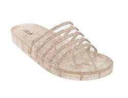 Jelly Glitter Summer Slide Rose Gold Sandal
