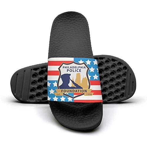 (QQuxiID Philadelphia Police Foundation Slide Sandal Beach Slipper Flip Flops Shower Poolside Shoes for Men)