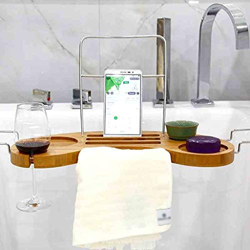 ZhaoLiRuShop Bathtub Trays Bath Caddy Bath Tray Bath Board Bamboo Household Telescopic Bathtub Frame Suction Cup Non-Slip Storage Bath Shelf (Color : Natural, Size : 9016cm) by ZhaoLiRuShop (Image #1)