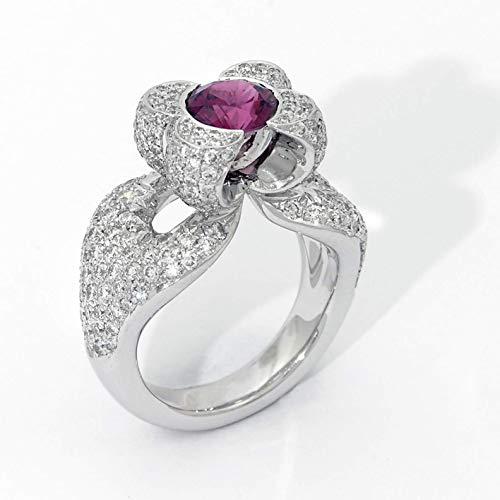 (18k white gold Pink Tourmaline Diamond Ring)
