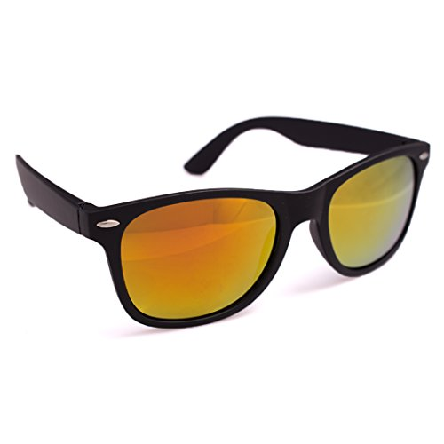 - Matte Wayfare Style Sunglasses, Black Frame, Yellow Orange Lens, OS
