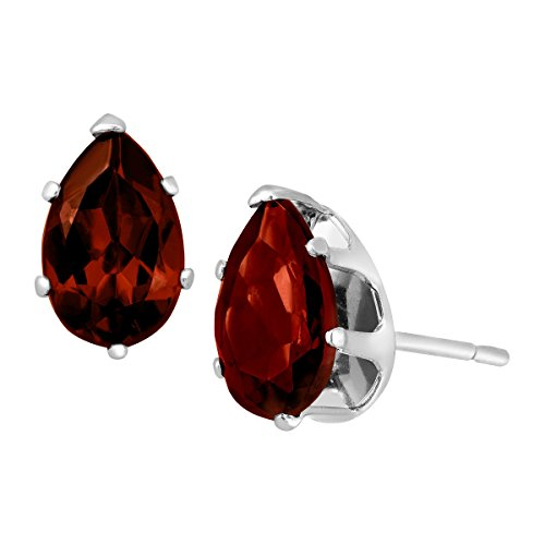 2 ct Natural Garnet Pear-Cut Stud Earrings in Sterling (Garnet Pear Earrings)