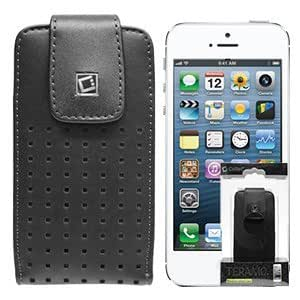 VMG For New Apple iPhone 5 5S Premium Designer T Vertical Leather Holster Belt Clip Case Cover - Black (Fits Bare Phone Only Only)