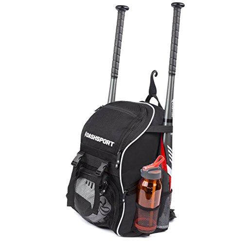 DashSport Baseball Bag Softball Backpack Bat Bag for Youth and Adults | Kids T-Ball Equipment and Softball Bag | Gear for Girls and Boys | Youth Bat Pack (Black)