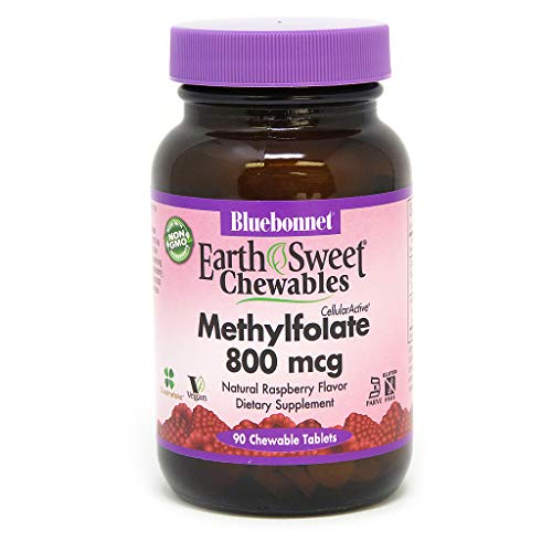 (Bluebonnet Earth Sweet Cellular Active Methylfolate 800 mcg Chewable Tablets, 90)