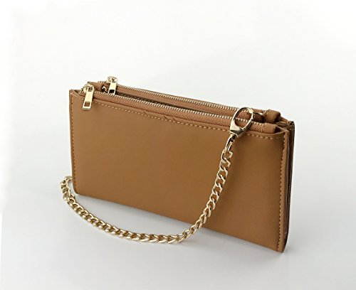 Strap Nude Chain Womens Multipurpose body Zipper Purse with Cross Double Mini Wallet bag nqxFw7gnzO