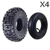 ZXTDR Pack of 4 Tire and Inner Tube 4.10x3.50-4''   Off Road Mud ATV Quad Mini Pocket Bike Go kart Parts