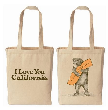 California Tote Bag (I Love You California Bear Hug Canvas)