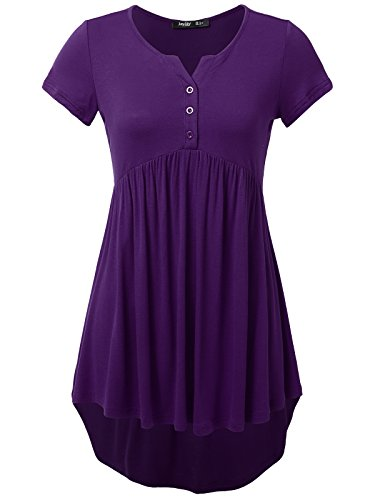 JayJay Women Casual Button Down Henley Neck Pleated Front A Line Flare Shirt - Swimsuit Wiki