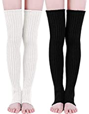 Sumind 2 Pairs 27.5 Inch Long Knit Leg Warmers Over Knee Winter Leg Warmers High Footless Knee Socks for Women and Girls