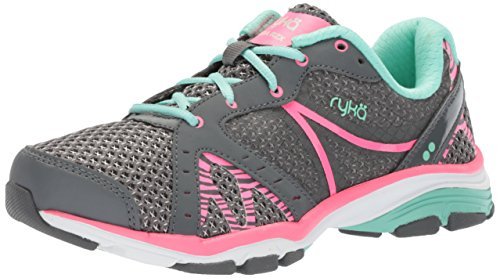 Ryka Women's VIDA RZX Cross Trainer, Iron Grey/Hyper Pink/Yucca Mint, 8 M US