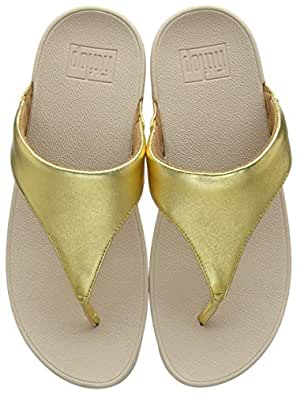 FitFlop™ Women's Lulu™ Leather Toe Post Flip Flop Artisan Gold-Gold-4 Size 4