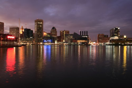 Ravens Paper Baltimore (BALTIMORE SKYLINE AT NIGHT GLOSSY POSTER PICTURE PHOTO maryland raven oriole)