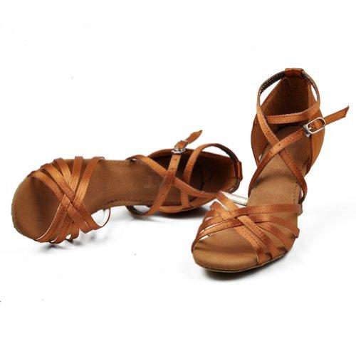 M&A Zapatos Verano de Baile Latín de Tacón para Mujer para Fiesta Zapatos Casuales Negro Marrón Oscuro