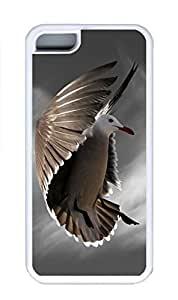 iPhone 5C Case, Personalized Custom Rubber TPU White Case for iphone 5C - Flying Bird Cover
