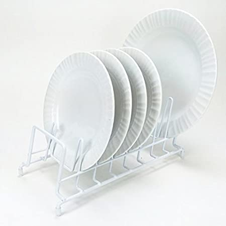 Amazon.com HUJI Plates Holder Potsu0027 Pansu0027 Lid Organizer Rack for Cabinet Pantry or Kitchen Counter (1 WHITE) Kitchen u0026 Dining : white plate rack - pezcame.com