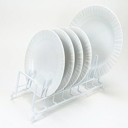 HUJI Plates Holder Pots' Pans' Lid Organizer Rack for Cabinet, Pantry or Kitchen Counter (1, WHITE)