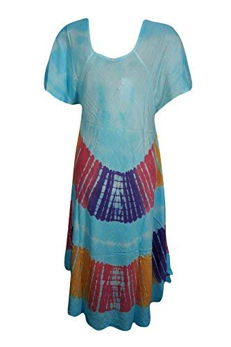 9f4d2feade5 Mogul Interior Elina Women Sundress Embroidered Tie-Dye Cap Sleeves Uneven  Beach Coverup Holiday Maxi Dress (Multi)  Amazon.co.uk  Clothing