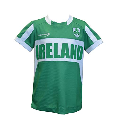 (Emerald Green and White Ireland Performance Kids Top with Shamrock Crest (11-12 Years))