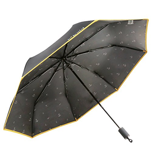 Kobold Travel Compact Umbrella With 3 Fold the Best Windproof Waterproof Anti-UV Lightweight For Unisex, New and Unique Ballet Parasol (Obsidian - Friday 50 50 Deals