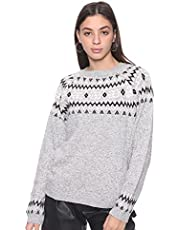 Andiamo Fashion Snowflake-Pattern Round-Neck Long Sleeves Pullover for Women - Heather Grey, L-XL