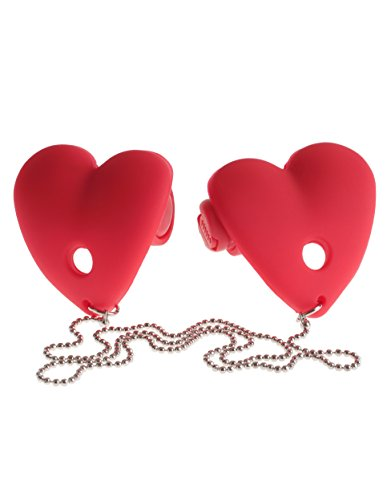 Sexy Vibrating Nipple Pasties Heart Red Vibe Silicone with Chain Discreet