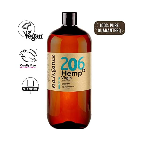 Naissance Cold Pressed Virgin Hemp Seed Oil (no. 206) 1 Litre – Pure & Natural, Cold Pressed, Vegan and Unrefined – Rich in essential fatty acids and vitamin E