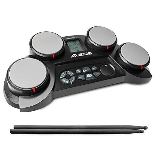 Alesis Electronic Drum Set - Alesis Ultra-Portable Electronic 4 Tabletop Kit with Velocity-Sensitive Pads, 70 Sounds, Coaching Feature, Game Functions, Battery-or AC-Power and Drum Sticks Included, Black, inch (Compact 4)